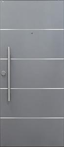 Wohnungstür TWE1 RAL 9007 4 Lisenen und Stoßgriff auf Kundenwunsch außen